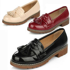 Womens Vintage Patent Tassel Loafers Flat Casual School Office Work Shoes Pumps