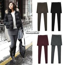 2 in 1 Cotton Skirt Stretch Long Pants Women Leggings Footless Jeggings Trousers