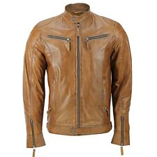 Mens Real Leather Tan Brown Fitted Biker Style Jacket Zipped Pockets Retro
