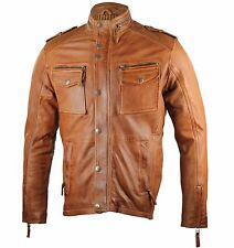 Mens Vintage Real Soft Leather Tan Biker Jacket Casual Zipped Pocket Retro S-5XL