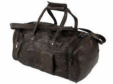 New Genuine Leather Large Weekend Duffle Cabin Sports Holdall Travel Bag (Brown)