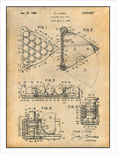 1966 Billiard Ball Rack - Pool Rack Patent Print Art Drawing Poster 18X24