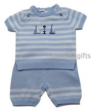 Boy's Sky Blue/White Knitted 2 Piece Top & Shorts Set 0 - 24 Month