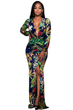 New Sexy Floral Print Deep V Neck Front Slit Long Sleeve Maxi Dress 8 10 12 14