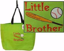 Little Brother Baseball Bat & Ball Essential Tote Monogram Custom Embroidered