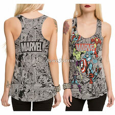 Marvel AVENGERS Group Comic Color POPS Tank Top Thor Hulk Iron Man C America Red