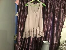 NEWLOOK SIZE 14 GREY SHEER TOP CAMI TUNIC DIPPED BACK DOUBLE FRILL BOTTOM