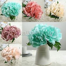 Artificial Craft Peony Silk Hydrangea Bouquet Home Wedding Fake Bridal Flowers