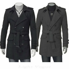New Men's Slim Stylish Trench Coat Winter Long Jacket Double Breasted Overcoat /