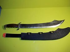 """Large 24"""" Fixed blade Knife wood and brass handle w/Sheath"""