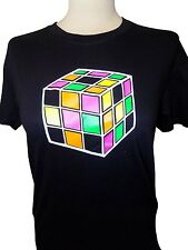 Retro 1980's T-Shirt Back To The 80's Rubik's Cube Ladies Men Black White Unisex