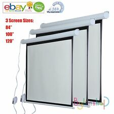 ELECTRIC MOTORIZED PROJECTOR SCREEN TV CINEMA REMOTE CONTROL 3D HD 3 SIZES HO