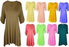 NEW LADIES PLUS SIZE TSHIRT TOP WOMEN TURN UP 3/4 SLEEVE BUTTON STRETCH FLARE