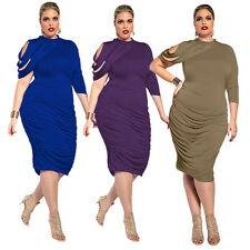 New Women Bodycon Ruffle Gown Plus Size Party Evening Cocktail Mini Formal Dress