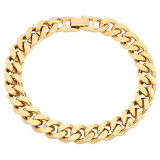 9mm 14k Yellow Gold Plated Beveled Cuban Curb Link Chain Bracelet