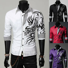 New Mens Casual Shirt Slim Fit Stylish Long Sleeve Dress Shirt Dragon Design z2