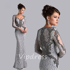 Sheath Mother Of the Bride Dresses Long Sleeve Beaded Lace Appliques Prom Gowns