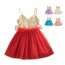 Toddler Baby Girls Kids Flower Sequins Dress Party Wedding Tulle Tutu Dresses