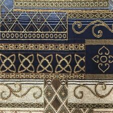 Plush Amherst Midnight Blue Gold Tapestry Upholstery Drapery Fabric