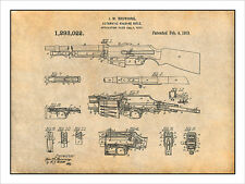 1918 B.A.R. Browning Automatic Rifle Patent Print Art Drawing Poster
