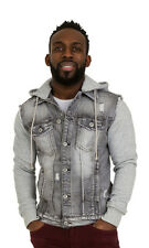 Mens Grey Denim Jacket with Hood Slim Fit Jersey cotton sleeves detachable hood