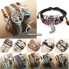ONMF New Wrap Multilayer Leather Braided Bracelet Chain Fashion Wristband 6types