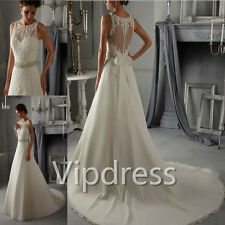 White Wedding Dresses Lace Appliques Sequins Sleeveless Bridal Gowns In Stock