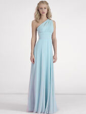 Sky Blue Long Bridesmaid Dresses Pleated One Shoulder Party Prom Formal Dresses