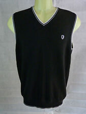 MENS BEN SHERMAN BLACK SLEEVELESS TANK TOP JUMPER SWEATER GOLF CASUAL RETRO