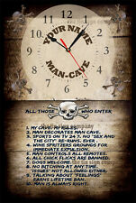 PERSONALISED WALL CLOCK. YOUR NAME. GREAT GIFT FOR ANY MAN-CAVE, BAR, SHED ETC.