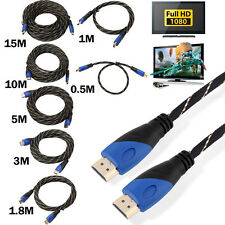 New Braided HDMI Cable V1.4 AV HD 3D for PS3 Xbox HDTV 1M - 15M Meters 1080P Lot