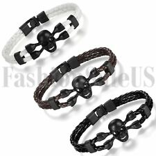 Men's Mutilayer Leather Braided Bracelet Skull Charm Punk Jewelry Cuff Bangle