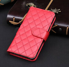 Red Wallet Case Grid Folio Soft Sheepskin PU Leather Case For S6 EDGE{OH-155