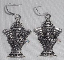 Rhinestone Ganesha Elephant Charm  French Wire Drop/Dangle Earrings