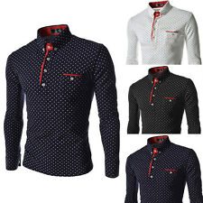 Mens New Long Sleeve Shirt Casual Luxury Slim Fit Stylish Dress Shirts Tops w54