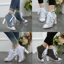 Punk Rivet Denim Women High Heels Canvas Shoes Thick With Ankle Lace Up Sneakers