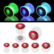 Pair UV Acrylic Light UP Plugs Screw Fit Ear Gauges Flesh Tunnels - The Punisher