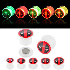 Pair UV Acrylic Light Up Plugs Screw Fit Ear Gauges Flesh Tunnels with Deadpool