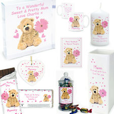 Personalised Teddy Pink Flower Gifts Mothers Day Birthday Christmas Gift