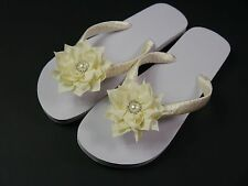 Wedding, Beach, Bridal, Hand Decorated Flip Flops,Lotus Flower, Embellishment