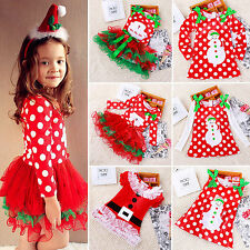 Girls Kids Xmas Party Dress Red Skater Long Sleeve Sundress Tutu Dress Costume