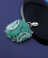 Natural Turquoise 29x32mm Fancy Shape Gemstone 925 Sterling Silver Pendant