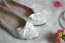 Lace white Bow Wedding shoes Bridal flats low high heel pump Shoes #011