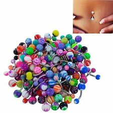 30/50 Pcs  Stainless Acrylic Body Piercing Navel  Belly Button Ring Barbell Bar