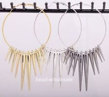 3 Pairs Acrylic Spike Charms Hoop Basketball Wives Earrings Silver/Golden/Black