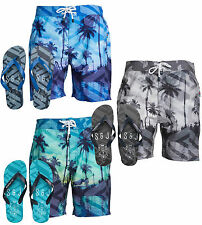 New Mens Smith & Jones Onshore Summer Holiday Swim Shorts & Free Flip Flop's Set