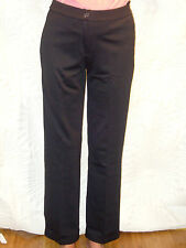 BNWT MONDI WOMENS CREASED FRONT BUTTON WAIST BLACK TROUSERS ELASTICATED SIZE 20
