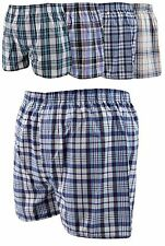 New Mens Boys Check Woven  Print Poly Cotton Boxer Shorts Underwear Trunks Brief