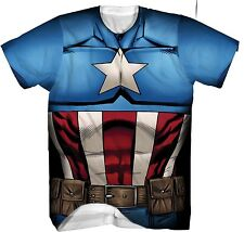 Mad Engine Men's Captain American Sublimated Costume T-Shirt