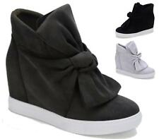 WOMENS MID HEEL WEDGE PLATFORM BOW FRONT HI TOP LADIES ANKLE TRAINERS BOOTS SIZE